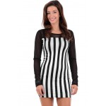 Black and White Striped Bodycon Dress B5 AIRA