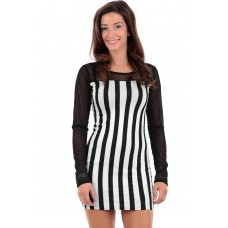 Black and White Striped Bodycon Dress B5 AIRA