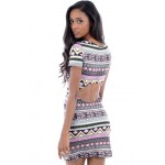 Aztec Print Dress with Cut Out Back 8-A2-TONIA