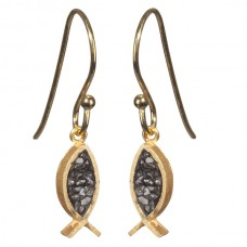 Black Rose Cut Diamond Fish Earrings