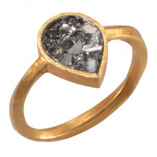 Black Rose Cut Diamond Tear Drop shape Ring